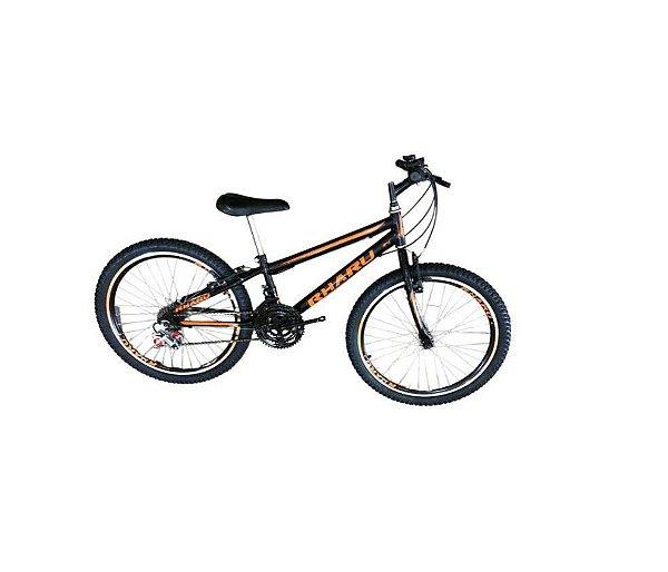 Bicicleta Rharu 24 Com Marcha e Com Roda Aero Preto