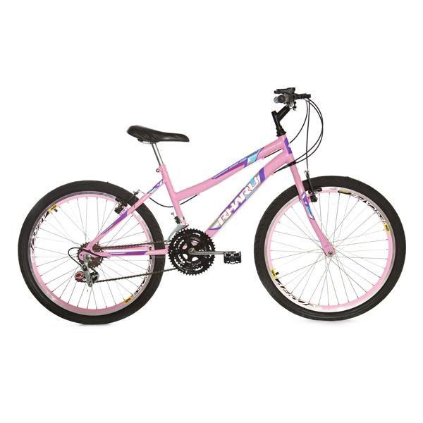 Bicicleta Rharu aro 24 Com Marcha e Com Roda Aero Rosa