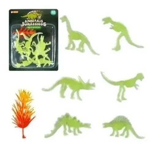 Dinossauro Esqueleto Fóssil Brilha No Escuro Miniatura 7pç