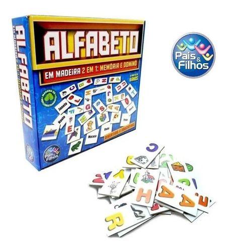 Jogo Alfabeto Memória E Dominó Em Madeira Brinquedo  Pedagógico Educativo