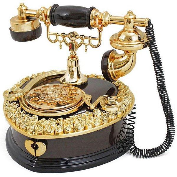Caixa Musical Corda Telefone Antigo Retrô Porta Joia Marrom