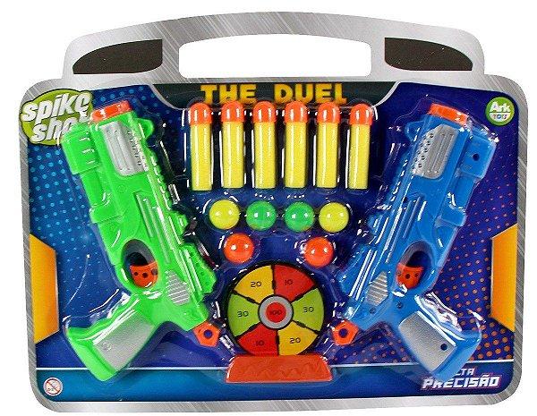 Pistola Lançador Arma duelo Kit 2 Armas  Atira Dardos Promoção