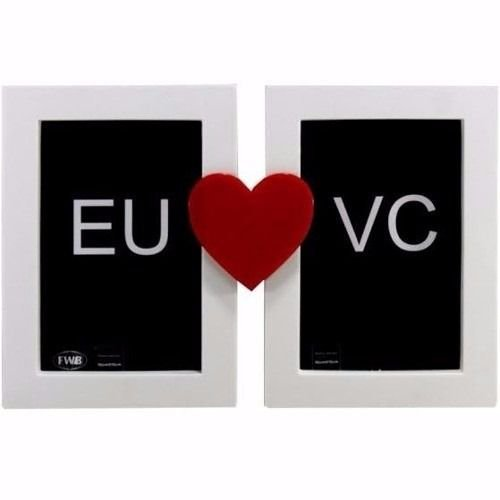 Porta Retrato Duplo Coração Casamento Love Amor 10x15