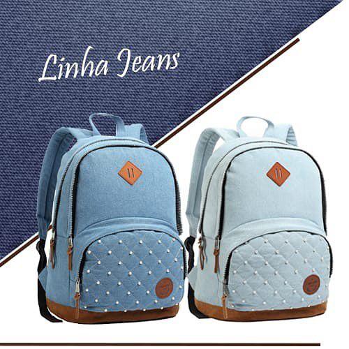 Mochila Seanite Feminina Costas Tipo Capricho Jeans - BamboleToy d1bd2aa0c34