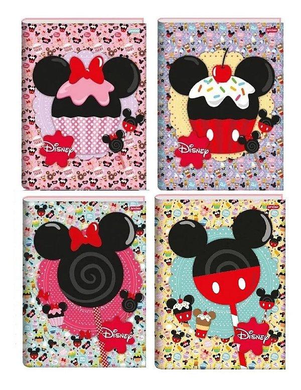 Kit 4 Caderno Disney Minnie Mickey Brochurao Capa Dura 96 Fl