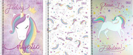 Caderno Unicórnio Kit 3 Cadernos Capa Dura Espiral 1 matéria