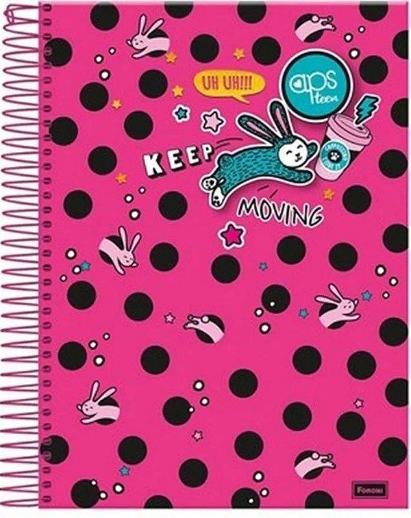 Caderno Universitário 1 Matéria  Espiral Capa Dura  Aps Teen 96 Folhas Keep