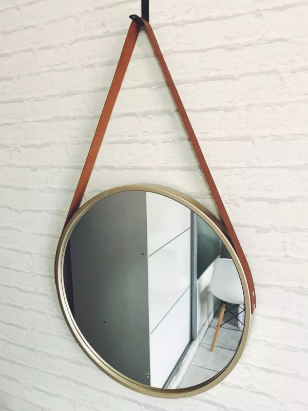 Espelho Redondo Dourado Alça De Couro Decorativo 45 Cm