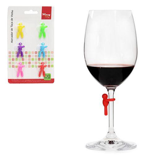 Marcador Taça Vinho silicone 6 Pecas 3cm Copos Colorido
