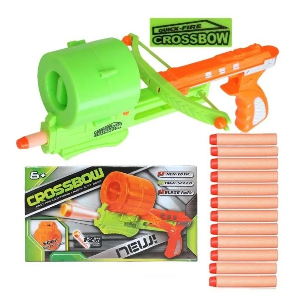Pistola Lançador Rápido E Continuo Arma Brinquedo Crossbow