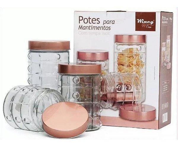 Conjunto 3 Potes Vidro Tampa Rose Inox Mantimento Cozinha