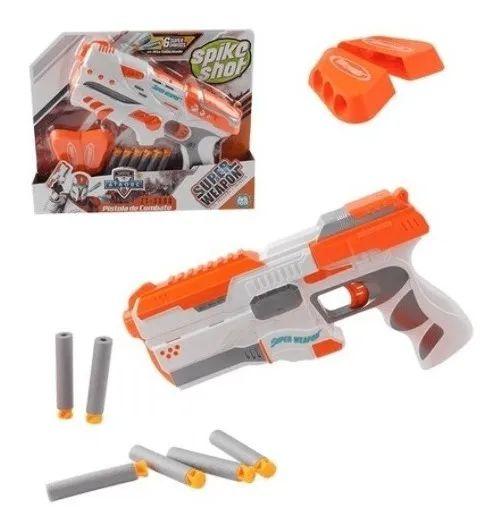 Pistola Infantil Arma Lança Dardos 6 Porta Munição Combate