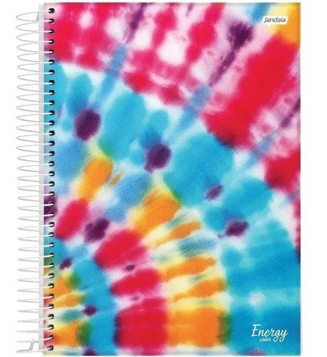 Caderno Tie Dye Espiral 10 Matérias Capa Dura