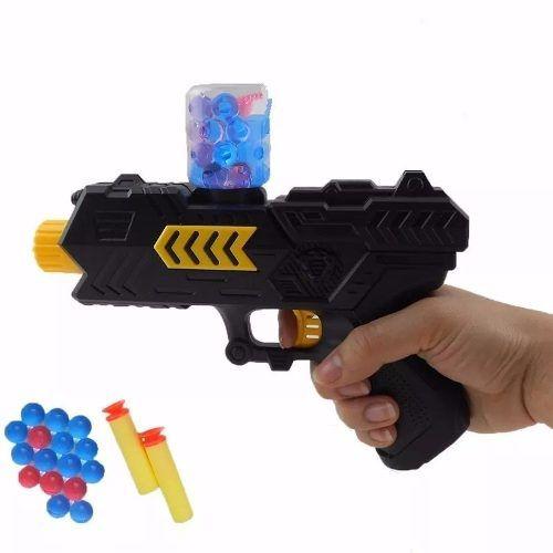 Arma Pistola Bolinha De Gel E Nerf Vem Com 200 Bolinhas Gel