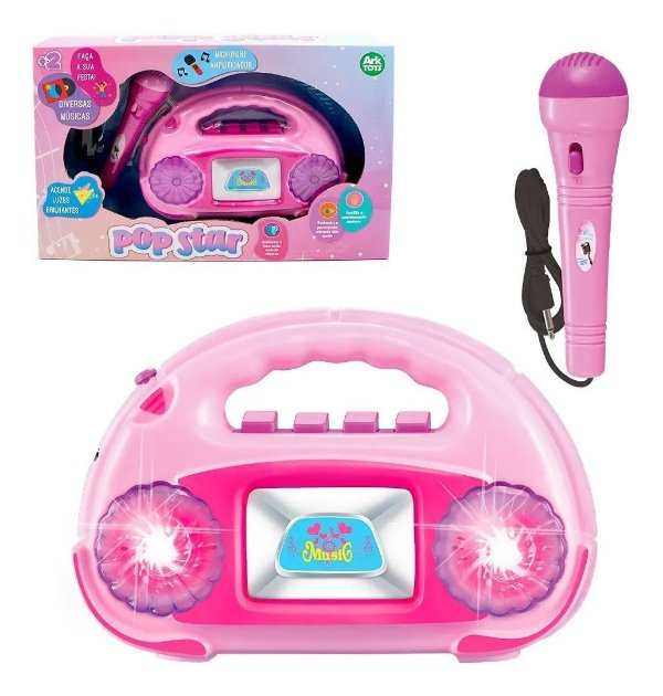 Radio Musical Infantil Com Microfone Amplificador +luz Pop