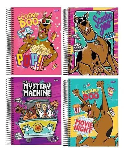 Kit 4 Caderno Scooby-doo 96 Folhas Espiral Univ Capa Dura