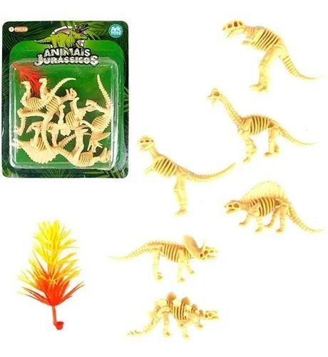 Dinossauro Esqueleto Miniatura Brinquedo Jurássico Rex Kit com 6 Dinossauros