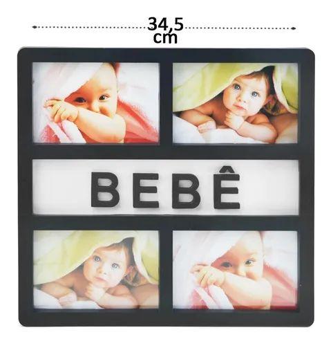 Porta Retrato Bebe Quadro Recém Nascido 4 Fotos 10x15