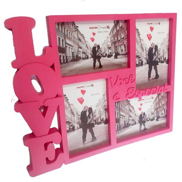 Porta Retrato Love Ou Painel Para 4 Fotos Prestige Rosa