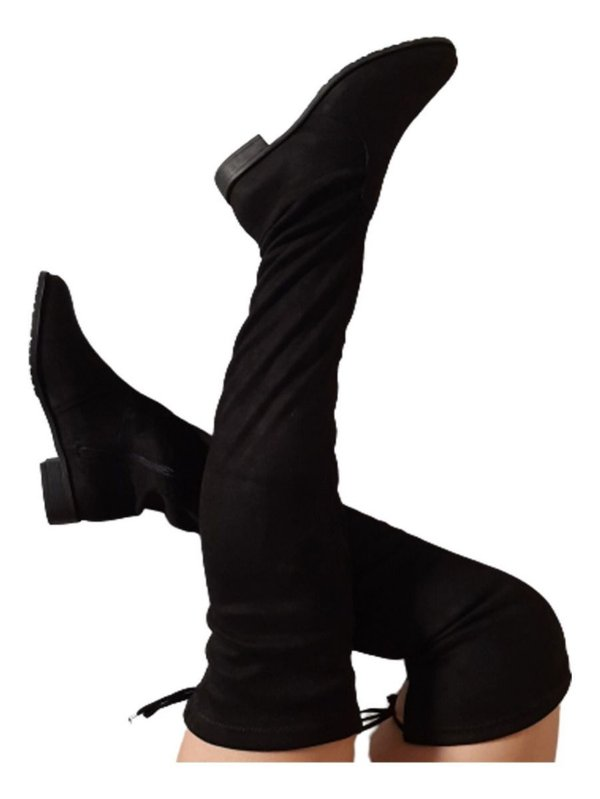 Bota Feminina Over Knee Cano Alto Nobuck Salto Baixo