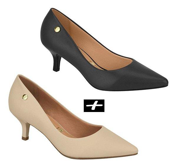 Kit 2 Sapatos Scarpin Vizzano Salto Baixo Preto E Bege