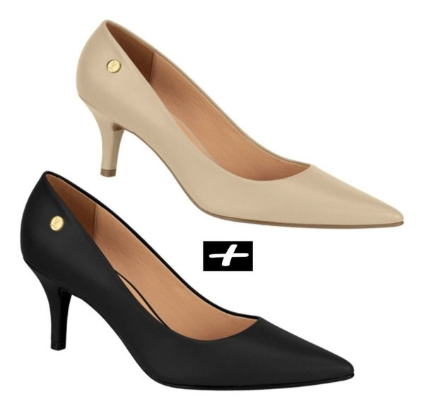 Kit 2 Sapatos Scarpin Vizzano Salto Médio Preto E Bege