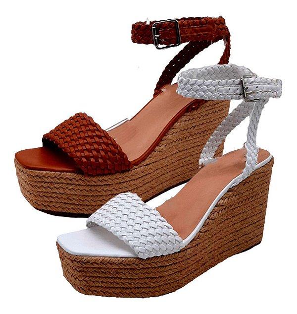 Sandália Feminina Anabela Corda Confortável Sapato