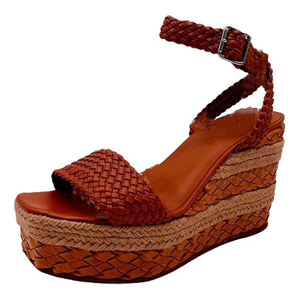 Sandália Feminina Anabela Tramas Confortável Sapato