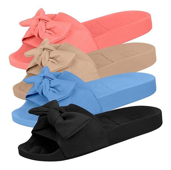 Sandália Chinelo Slide Tamanco Feminino Moleca Laço Camurça