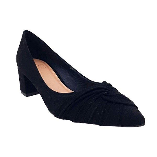 Sapato Scarpin Feminino Salto Médio Bloco Bico Fino Conforto