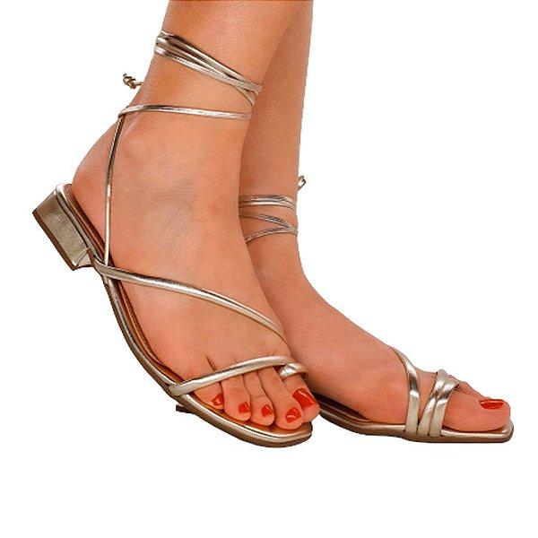 Sandália Salto Baixo Rasteira Amarração Tiras Rasteirinha