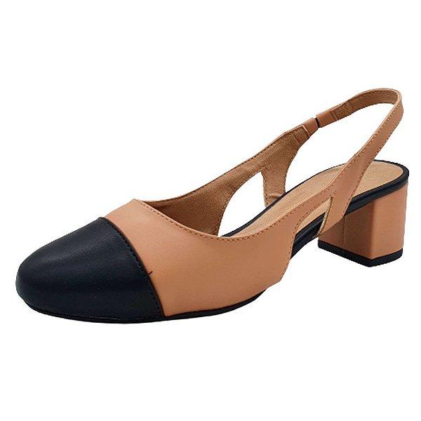 Sapato Scarpin Aberto Feminino Bico Redondo Salto Médio Moda