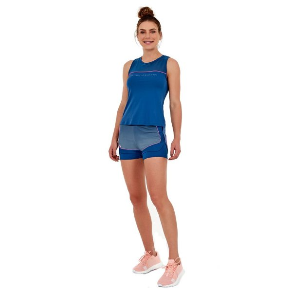 SHORTS SKIN FIT FUN FITNESS AZUL GOBLIN TAM M - ALTOGIRO