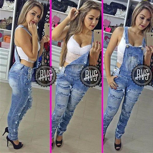 391c6834e87887 Macacão Calça Jeans Rasgado Jardineira Feminina Comprido!