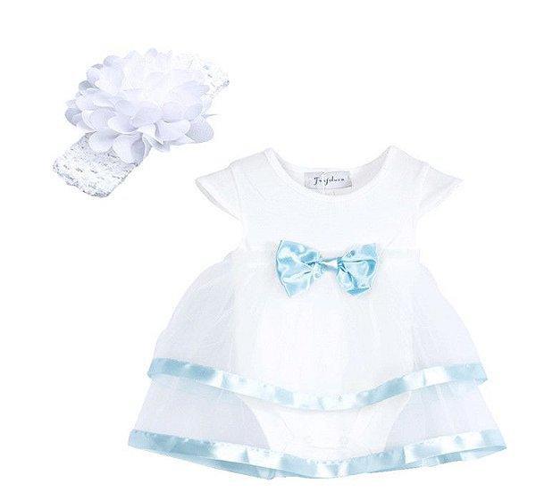 Vestido Body Azul com branco - 9 meses