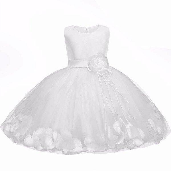 Vestido Branco Flor Batizado - 10-12 meses