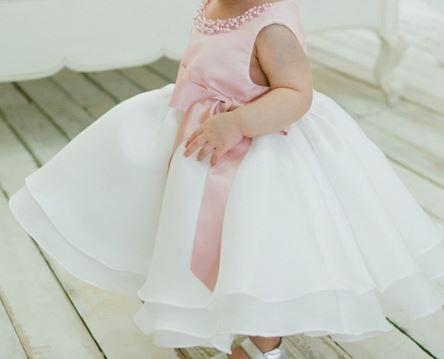 Vestido Branco Rosê- Tamanho 12 meses