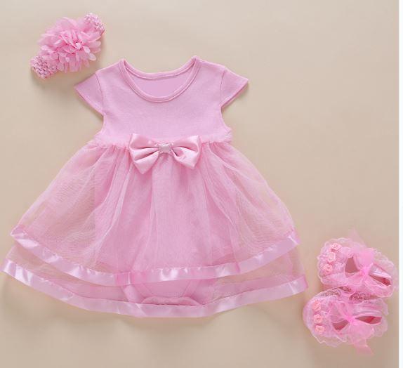 Bodysuit  Vestido Rosa com Tiara e Sapatinho - 6 meses