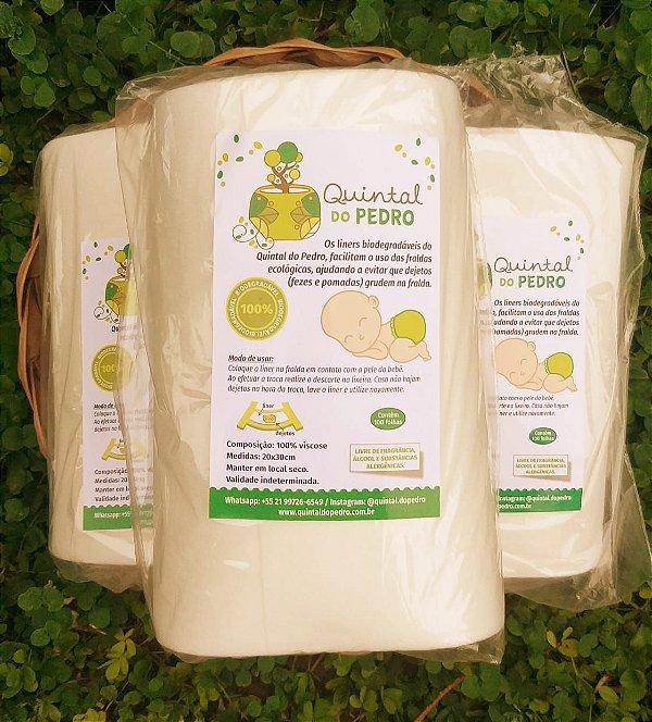 Kit com 3 rolos de Liner Biodegradável Quintal do Pedro - Rolo com 100 folhas