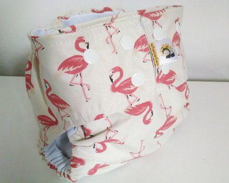 Fralda diurna recém nascido Flamingos- Belinha Baby