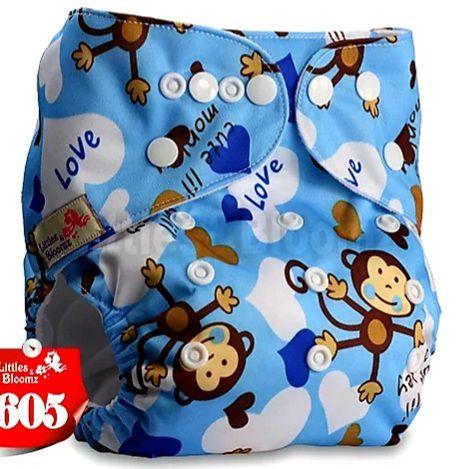 Fralda Macaquinho Azul em Pull - Little e Bloomz