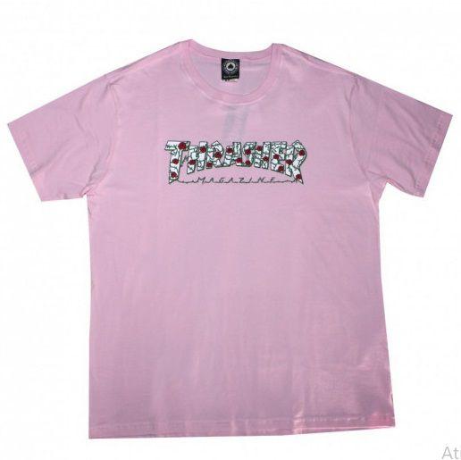 Camiseta Thrasher Roses Rosa Claro