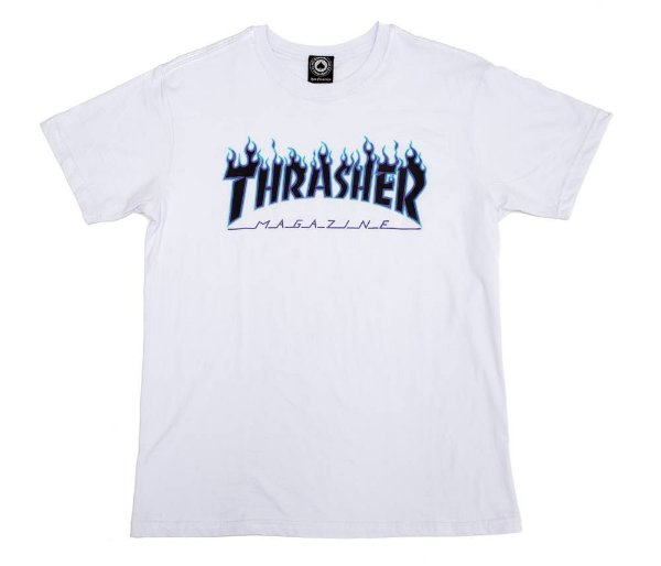 Camiseta Thrasher Purple Flame Logo Branco