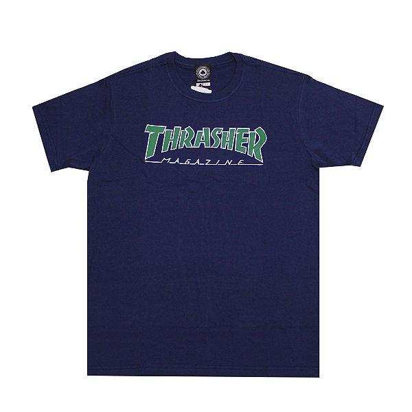 Camiseta Thrasher Outlined Marinho - logo verde