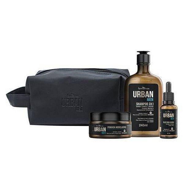 Urban Men Kit Farmaervas - Shampoo + Óleo + Pomada + Nécessaire