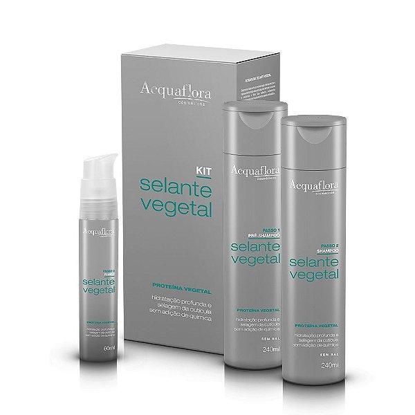 Kit Selante Vegetal Acquaflora Pré Shampoo 240ml + Shampoo 240ml + Fluido 60ml