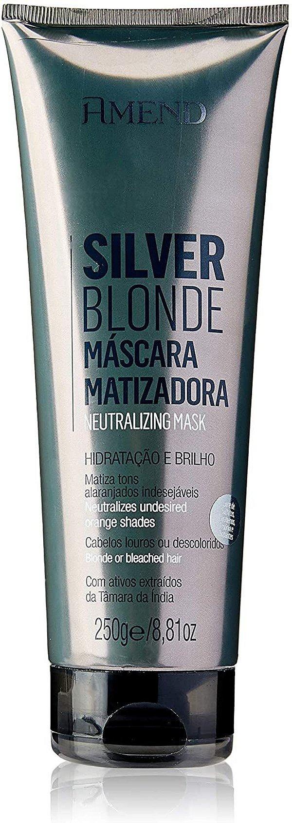 Máscara Matizadora Amend Silver Blonde Hidratação e Brilho 250g