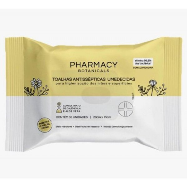 Toalhas Antissépticas Umedecidas Pharmacy Botanicals 30 und