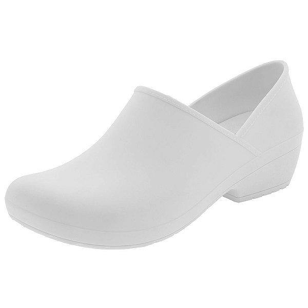 Sapato Feminino Branco Fechado Enfermagem Works Boa Onda TR Flexível Ultra Conforto