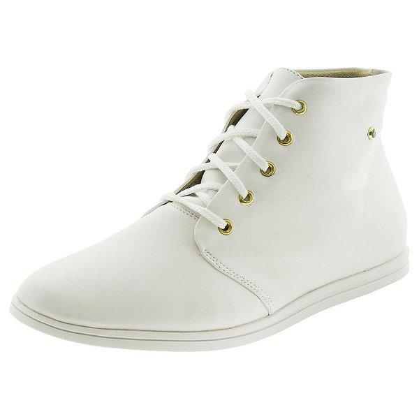 Tenis branco feminino botinha de amarrar com cadarço e enfeite de pedrinha brilhante